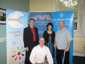 From left to right: Professor Vincent Walsh of the Institute of Cognitive Neuroscience in University College London, Liam O'Sullivan Executive Director of Care Alliance Ireland, Dr Aviva Cohen CEO of Research & Hope, Steve Connor stroke survivor
